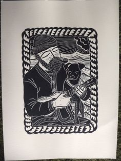 Old Salt & Pepper. Original Linocut Print. Ukulele, Dog & Bearded Man