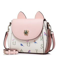 52.22$  Watch now - http://aliq60.worldwells.pw/go.php?t=32690236161 - Women Magic Forest Cat Ear Patchwork Leather Flap Cross Body Shoulder Handbag Purse Messenger Bag
