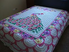 Peacock Chenille Bedspread Plush Multi-Color Vintage | eBay