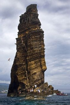 Extreme sport. Cliff Diving World Series, Islet Franca do Campo, Azores, Portugal