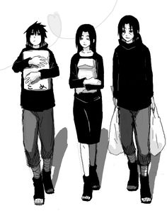 #Uchihas Sasuke and Itachi going shopping with Mikoto <3 #Naruto