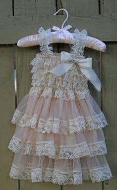 Vintage-inspired, shabby chic, cream - ivory - light mauve baby embellished romper flower girl ruffle dress from chicandswankykids Purchase . Cute Girl Dresses, Little Girl Dresses, Girl Outfits, Flower Girl Dresses, Baby Girl Fashion, Toddler Fashion, Baby Dress, Ruffle Dress, Little Girl Closet