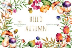 """Hello, Autumn"" high quality hand painted watercolor collection! Bright autumn collection with 33 watercolor elements (autumn leaves, golden leaves, flowers, branches, berries, acorns, blackberries, mushrooms, chestnut and little bird), wreaths, template cards and watercolor borders clipart."