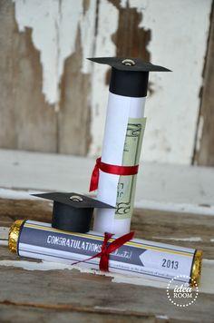 Graduation gift idea theidearoom.net - Roll money on Rolo roll, add printable wrapper...