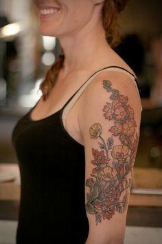 kirsten makes tattoos - Desert wildflowers for Hannah: Arizona poppy, globemallow, desert verbena, and Indian paintbrush. I love the desert! I loved doing this.