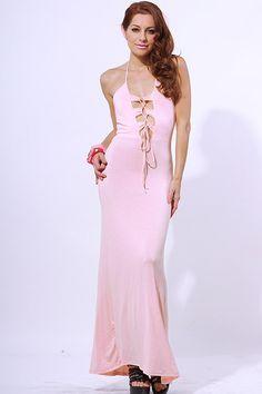 #clubwear21.com #dress #fashion Pink corset tie backless summer evening maxi dress-$39.00