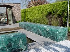 Slag glass gabion wall
