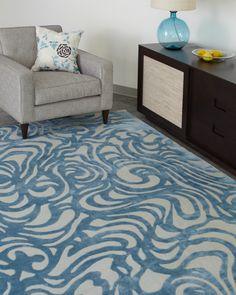 Flow (ocean)   Emma Gardner Design #silkandwool #handknottedrugs
