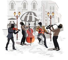 Illustration of Street musicians with a saxophone, a contra-bass, a guitar, a violin on the background of a street cafe vector art, clipart and stock vectors. Mario Miranda, Street Musician, Travel Music, Music Pictures, Banner Printing, Pencil Art Drawings, Saxophone, Art Music, Canvas Frame