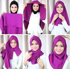 hijab tutorials for round faces - Google Search