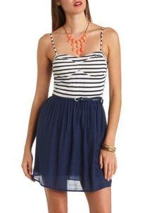 striped color block skater dress