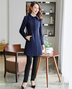 105aca89323d New 2019 Fall Winter Fashion Women Coat Navy Blue Long Female Outerwear Clothes  Ladies Coat Price