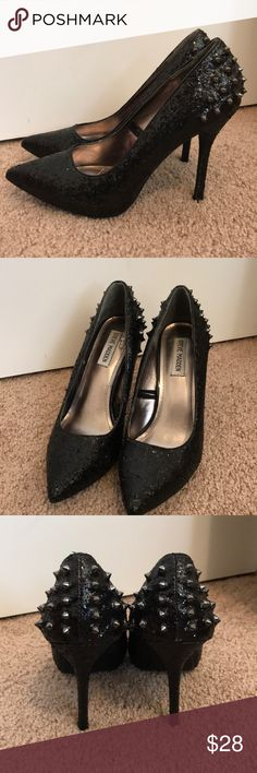 "Steve Madden ""Spazz"" Spiked Heel in Black Gitter"