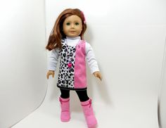 "American Girl 18"" doll clothes black and white leopard prints with pink trim  5 pc set. $33.00, via Etsy."
