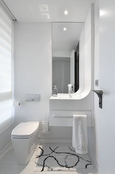 Modern White Bathroom Design White Bathroom Decor, Modern White Bathroom,  White Bathrooms, Minimalist