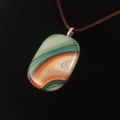 """Aqua, Brown, Orange, and White """"Southwestern"""" Fused Glass Pendant with Satin Necklace by UniqueGlassTreasures on Etsy"""