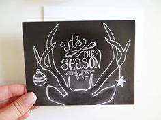 Boxed Set of 8 Deer Antler Cards Tis The Season by LilyandVal