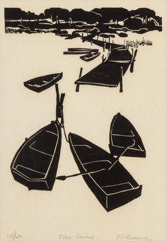 FRANK ECKMAIR (American, 1930-2012) Public Landing, 196