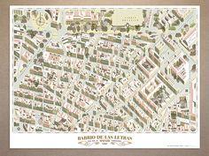 POSTER BARRIO DE LAS LETRAS - Walk with me Maps of Madrid