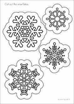 Winter Preschool Math and Literacy No Prep worksheets and activities. A page from the unit: cutting practice Kindergarten Crafts, Preschool Math, Winter Kids, Christmas Crafts For Kids, Button Tree Canvas, Snowflake Coloring Pages, Create A Family Tree, Snowflake Template, How To Make Snowflakes