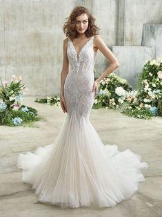 Emmy Front Mermaid Dresses, Bridal Dresses, Girls Dresses, Bridal Collection, Dress Collection, Badgley Mischka Bridal, Wedding Dress Silhouette, Column Dress, Beautiful Wedding Gowns