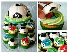 Soccer Cupcake Tower. Decorating inspiration.