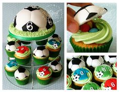 Soccer Cupcake Tower.  Decorating inspiration.