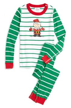 Hanna Andersson Peanuts® Holiday Organic Cotton Fitted Two-Piece Pajamas (Toddler Boys, Little Boys & Big Boys) available at #Nordstrom