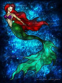 I would definitely rock this on my wall! So pretty and colorful. Love the deep blue fade brighter around Ariel.... Oh, if I could be part of that world...