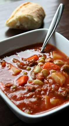 Vegetable Beef Soup Recipe. Loaded with vegetables and ground beef this comfort food style soup recipe will have you all warm and cozy this winter.