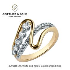 This two tone 14K Yellow and White Gold Diamond ring is a work of art. This unique ring features a row of round ‪#‎diamonds‬ and a row of shared prong set round diamonds interwoven together for a one of a kind style. Visit your local ‪#‎GottliebandSons‬ retailer and ask for style number 27906B. http://www.gottlieb-sons.com/product/detail/27906B