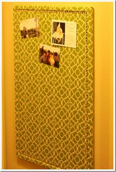 DIY fabric-covered bulletin board with faux nailhead trim Homemade Bulletin Boards, Crafts To Do, Diy Crafts, Fabric Bulletin Board, A Thoughtful Place, Hanging Photos, Diy Pins, Red Fabric, Fabric Covered