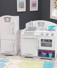 Look at this #zulilyfind! White Retro Play Kitchen Set by KidKraft #zulilyfinds