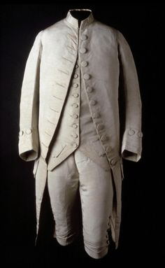 """American made suit dating to 1775-1785. Silk faille, cotton/linen plain weave, silk twill. Whoever wore this suit was a skinny man, as the waist on the breeches is just 26 3/4"""".  Tumblr"""