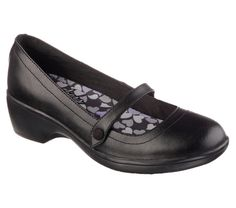 Make smart style and long lasting comfort look easy wearing the SKECHERS Modern Comfort Flexibles - Staple shoe.  Smooth matte or metallic leather upper in a slip on dress casual mid heeled comfort mary jane with stitching and overlay accents.  Memory Foam insole.