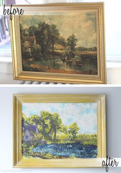 Paint over thrift store art (I would never do this over an actual painting, but a print, sure) to create a bright fun piece - kind of like those vintage paint-by-numbers.
