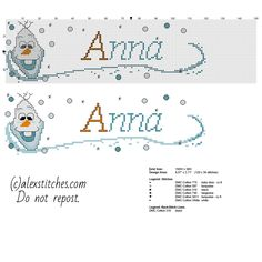 Cross stitch baby name Anna with Olaf character from Disney Frozen cartoon