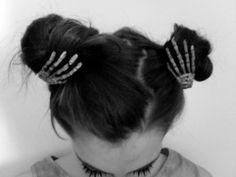 pigtail buns, skeleton hand hair clips (great idea for Halloween!) #paulmitchell #halloweenhair