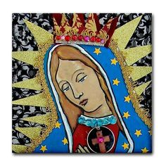 Mexican Folk Art Ceramic Tile  Virgin of by HeatherGallerArt, $20.00