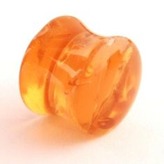 """Acrylic Synthetic Amber Double Flared Plug: 1/2"""" (SOLD INDIVIDUALLY. ORDER TWO FOR A PAIR.) Steel Navel Body Jewelry. $5.00"""