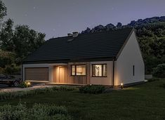 Murator C365j Przejrzysty - wariant X - zdjęcie 6 Small Modern House Plans, My House Plans, Facade House, Home Fashion, Bungalow, Shed, Cottage, Outdoor Structures, Cabin