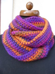Circle infinity scarf, Loop scarf, Hand crochet neckwarmer, Mother's day gift, orange scarf, lila scarf, Gift for women, READY TO SHIP #etsy #giftideas #infinityscarf #loopscarf #crochetshawl