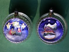 2 Vintage Mercury Glass Diorama Italy Ornaments Ribbed Nativity Reindeer House $194  Z