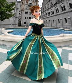 Movies Frozen Snow Queen ANNA Cosplay Costume Deluxe Dress coronation adult and teenager Disney Princess Frozen, Disney Princess Dresses, Anna Coronation Dress, Frozen Snow Queen, Frozen Halloween, Twilight Sparkle Equestria Girl, Frozen Fashion, Frozen Cosplay, Dresses For Sale