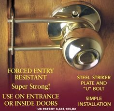 This ingeniously designed safety product increases privacy and security for any knob operated inward opening door. & NIGHTLOCK Security Door Barricade helps prevent door Kick ins ...
