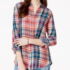 Lucky Brand Long Sleeve Plaid Shirt NWT  28 inches long, 20 inches wide. Measured flat. Lucky Brand Tops Button Down Shirts