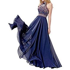 LOVIERA Women long Prom Dresses Homecoming Dresses long Evening Gowns Halter Neck Embroidery Open Back 2017 New Blue) Prom Dresses Australia, Prom Dresses Canada, Floral Prom Dresses, Homecoming Dresses Long, Navy Blue Prom Dresses, Open Back Prom Dresses, Best Prom Dresses, Plus Size Prom Dresses, Prom Dresses With Sleeves