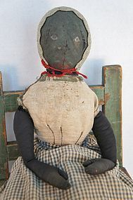 19th C. Black cloth doll with early construction