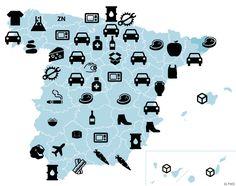 Dime dónde vives y te diré qué produce tu provincia (y dónde lo vende) Dime Que No, Geography, Decir No, Map, Poster, Location Map, Maps, Billboard