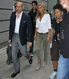 Star power: Stanley Tucci and Nicola Peltz also arrived on set